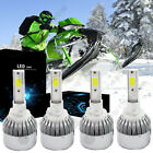 For Snowmobile LED 100W 7200LM 6000K Headlight High Combo Kit 800 Series 4Pc New