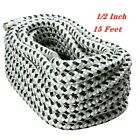 1/2Inch 15FT Double Braid Nylon Dock Line Loop and Chafe Guard, White/Black US
