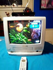 """WHITE PANASONIC PV-M1358W 13"""" CRT TV/VCR WITH REMOTE, RABBIT EARS, DTV BOX"""