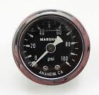 """15023 Marshall 0-100 PSI Fuel Pressure Gauge 1.5"""" Liquid Filled 1/8"""" NPT Male"""