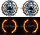 "7"" HALOGEN AMBER LED HALO TURN SIGNAL ANGEL EYE HEADLIGHT CRYSTAL H4 LIGHT BULBS"