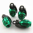 4 x Green Grenade Style Wheel Tyre Tire Metal Valves Stems Air Dust Covers Caps