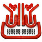 "3"" RED COATED TURBO MANIFOLD INTERCOOLER ALUMINUM PIPING+U PIPES+CALMPS+HOSES"