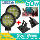 2PCS 60W 7inch CREE Spot LED WORK LIGHT + A-pillar Mounting Brackets For JEEP 13