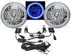 "76-15 Jeep Wrangler 7"" SMD Blue LED Halo Headlights 6K 6000K HID Light Bulb Kit"