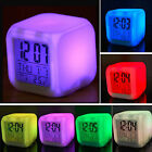 7 Colors LED Digital Alarm Clock Thermometer Glowing in the Dark Kid Lazy Clock