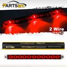 "Submersible 15"" Red 3 LED Center ID Light Bar Truck Trailer 2 Wire Surface Mount"