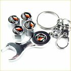 Car Tire Tyre Wheel Valve Steam Caps 4pcs+Wrench Key Chain for TRD