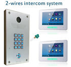 "2 Wire 2 x monitor 7"" Video Intercom Backlit Keypad Door Phone SET"