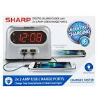 Sharp Double USB Charger Alarm Clock Battery Backup Snooze iPhone Tablet Digital