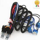 4-Headlight Relay Wiring Harness H4 Headlamp Light Bulb Ceramic Socket Plugs Set