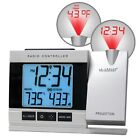 Projection Alarm Clock LED Atomic In/Outdoor Temperature Weather Projector Tax0