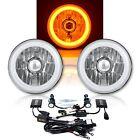 "5-3/4"" Amber LED COB SMD Halo Angel Eye 6000K 6K HID Light Bulbs Headlights Pair"