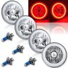 "5-3/4"" Red LED COB SMD Halo Angel Eyes Halogen Light Bulbs Metal Headlights Set"