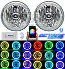 "5-3/4"" Bluetooth Cell Phone RGB SMD Color Change LED Halo Angel Eye Headlights"