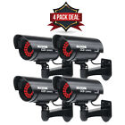 4 Pack - Fake Security Camera Dummy Outdoor Surveillance CCTV Record Led Light