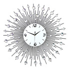 3D 29.5 Inch Crystal Iron Round Large Wall Clock Art Decor Time W/Free Wall Hook