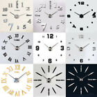 12 Style DIY Large Number Wall Clock Kit 3D Mirror Surface Sticker Home Decor