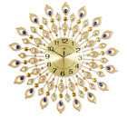 """3D Large 27.2"""" Peacock Leather Crystals Design Iron Wall Clock W/Free Hooks Gold"""