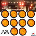 10x 4'' Round Amber 12LED Truck Trailer Turn Signal Tail Light Grommet & Plug