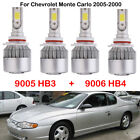 4X 9005 HB3 9006 HB4 LED Headlight Kit Bulbs For Chevrolet Monte Carlo 2005-2000