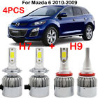 4PCS Combo H7 H9 LED Headlight Kits Bulbs For Mazda 6 2010-2009 Hi/Lo Beam 6000K