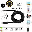 6LED 5m 7mm 2 in1 USB Endoscope Borescope Inspection Camera For Android Phone PC