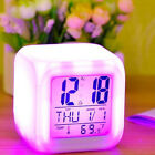 Multi-Funtional Cube 7 Color LED Change Digital Glowing Morning Alarm Clock RS