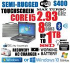 GETAC S400 SEMI-RUGGED LAPTOP i5-TURBO 2.93GHz 8GB 160GB-256GB SSD TOUCHSCREEN