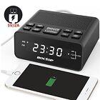 USB Alarm Clock Radio Digital with Phone Charger FM Sleep Timer Dimmer Snooze