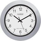 "LA CROSSE TECHNOLOGY WT-3102 PLASTIC 10"" ANALOG ATOMIC CLOCK SILVER/BLACK"