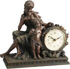 Antique Bronze Tabletop Clock Mantel Statue Decorative Accent Cast Resin Gift