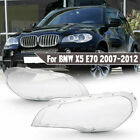 Pair Headlight Clear Plastic Lens Shell Cover Lampshade For BMW 2007-2013 X5 E70