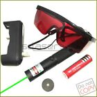 G303 532nm Adjustable Focus Green Laser Pointer Torch & Battery&Charger& Goggles
