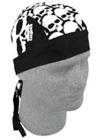 Zan Headgear BLACK WITH WHITE SKULLS durag Headwrap bandana  Z525 Skull Cap