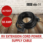 36ft 50amp RV Extension Cord Power Supply AWG10 Black Terminal Gender Camper