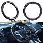 Carbon Fiber Auto Truck Skidproof Car Steering Wheel Cover 38cm Black Universal