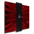 Modern Red & Black Metal Wall Clock - Contemporary Metal Wall Art by Jon Allen