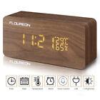 LED Cube Wooden Digital Desk Clock Voice Control Calendar Humidity Alarm Clock