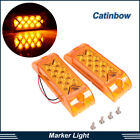 2pc Amber 13 LED Rectangle Surface Mount Side Marker Turn Signal Lights 12V Lamp