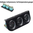 Triple Gauge Kit Car 3 in 1 Voltmeter Gauge Oil Temp Meter Oil Pressure Gauge