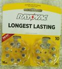 New Lot of 6 (16 pks) Rayovac Sz 10 Hearing Aid Batteries-Recently Expired