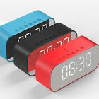 Wireless Bluetooth Speaker LED Snooze Clock LCD Mirror Temperature Display