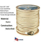 """3/8"""" x 600' Double Braided Nylon Rope Anchor Line w Thimble White/Gold Dock Line"""