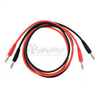 NEW! Dual Ended Banana Plug Test Probe Silicone Lead Cable Black Red