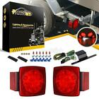 Red LED Camper Trailer RV Boat Stop Tail brake License Light Kit w/Wire&Bracket