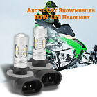 LED Headlight Bulbs for Arctic Cat  0609-251 Snowmobiles 80W Super White 2x