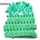 100Sets Green Animals CattleGoat Pig Sheep Use Ear Number Tag Livestock Tags