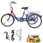 "26"" 3-Wheel Tricycle 1-Speed Unisex Adult Trike Cruise Bike Bicycle With Basket"