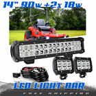 """14"""" 90W Straight LED Light Bar Spot Flood Driving Lamp FOR Ford Jeep JK YJ DTB"""